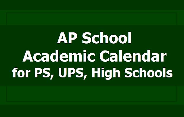 AP School Academic Calendar 2019-2020 for PS, UPS, High Schools