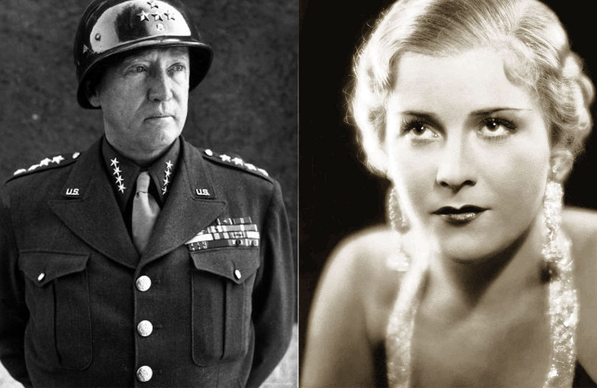 Two black and white portraits of George S. Patton Jr. and Eva Braun