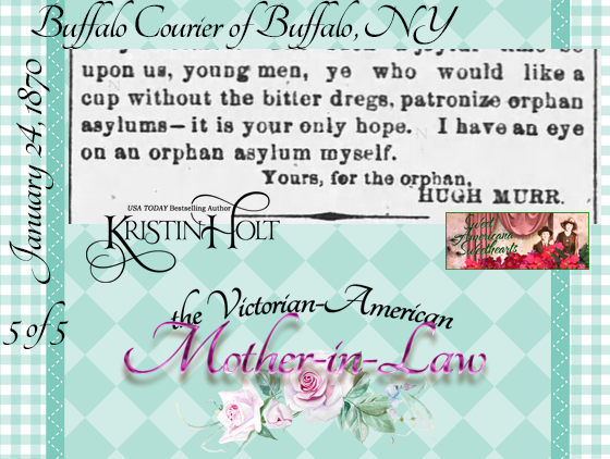 Kristin Holt | the Victorian-American Mother-in-Law. From Buffalo Courier of Buffalo, NY on January 24, 1870: Hugh Murr on Mothers-in-Law. Part 5 of 5.