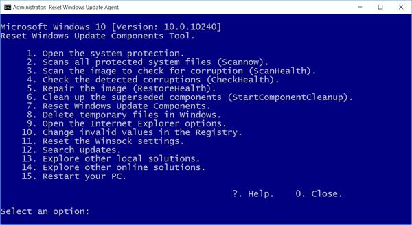 Reset Windows Update Components Tool