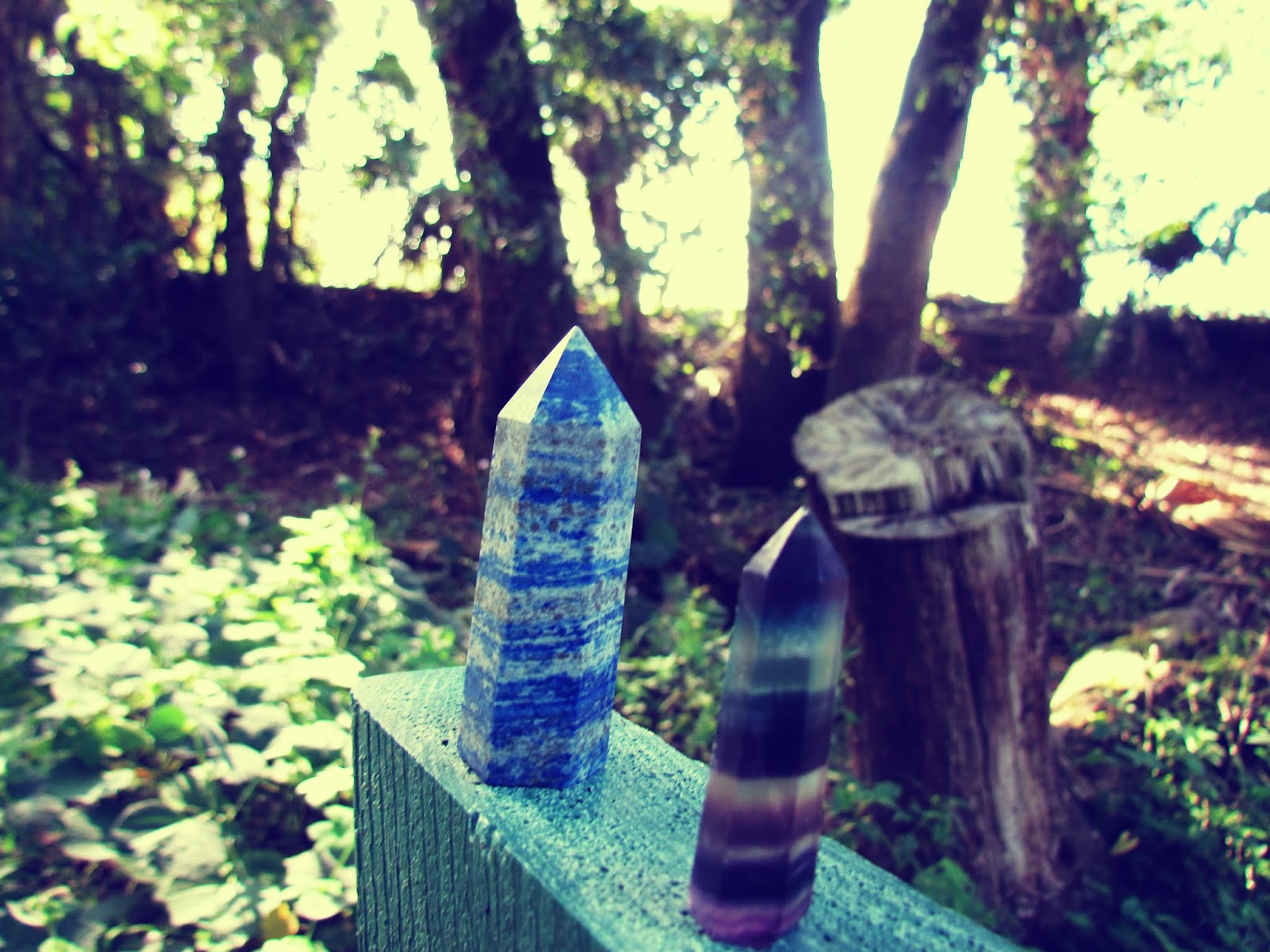 A rainbow banded fluorite gemstone wand and a blue lapis lazuli crystal wand catching sunlight in a nature park in Florida
