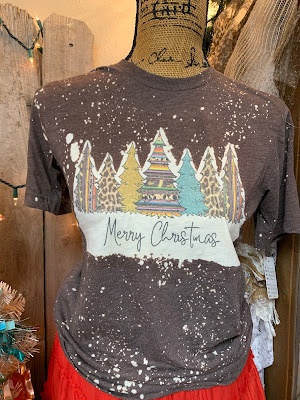 "serape and leopard print Christmas trees on a ""snowy"" bleached tee shirt"