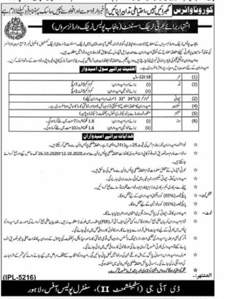 Punjab Police Jobs October 2020 Traffic Wardens October Jobs 2020 in Pakistan For Male and Female