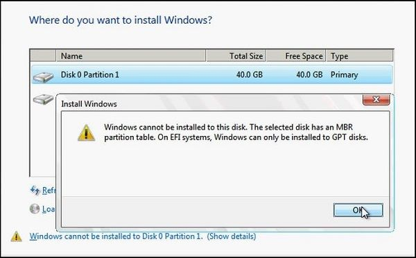 windows cannot be installed to this disk the selected disk has an mbr