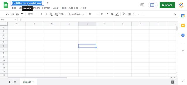 cara membuat spreadsheet