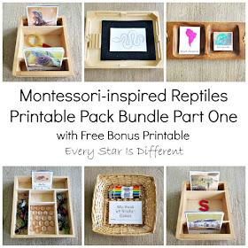 Montessori-inspired Reptiles Printable Pack Bundle Part One