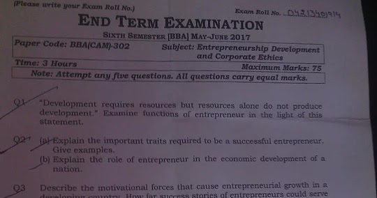 Previous Year Question Papers of ( BBA CAM ): Semister 6