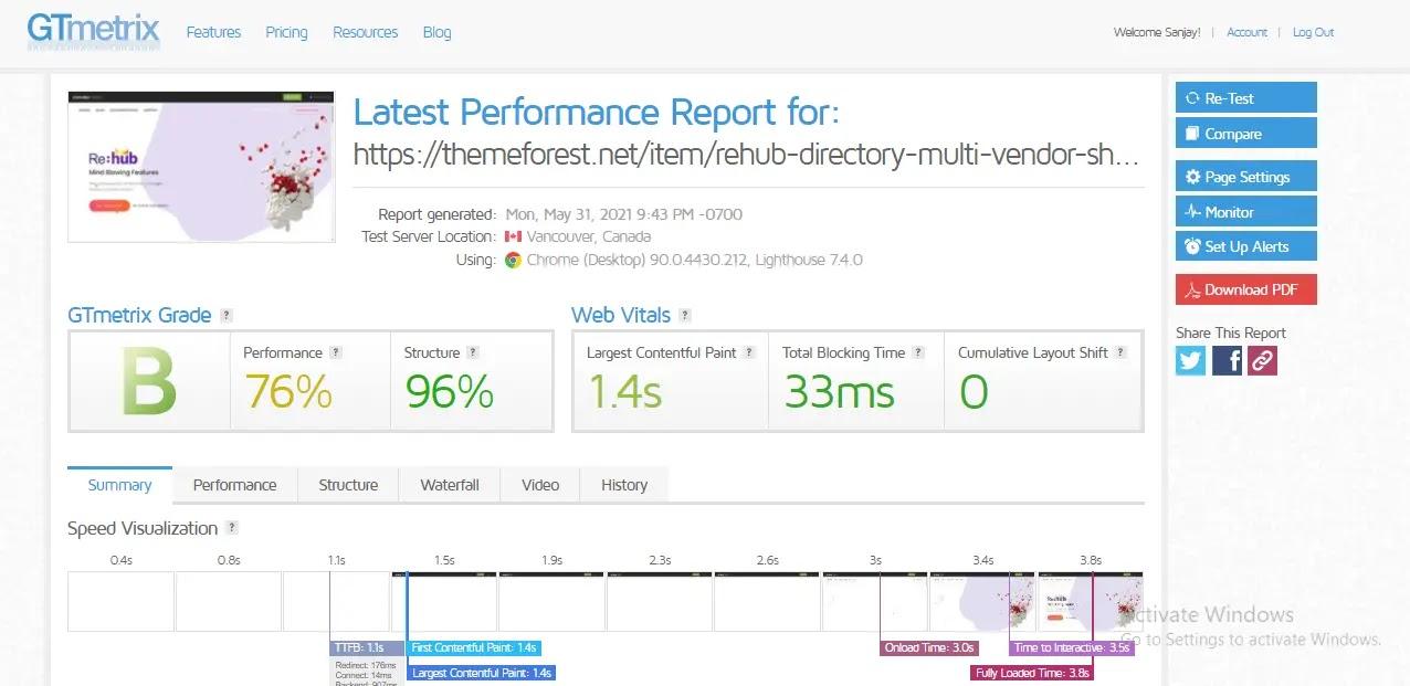 Rehub WordPress Theme Free Download web-speed test