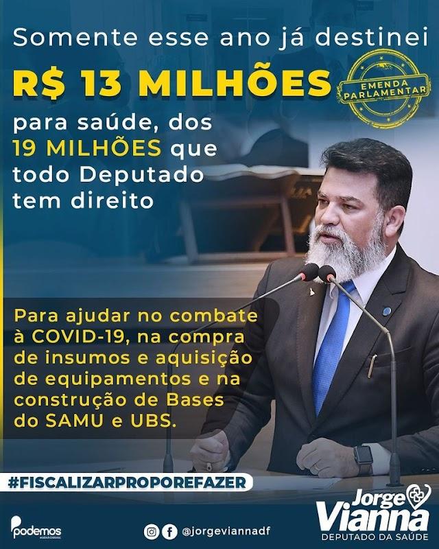 De olho na saúde: o Deputado Jorge Vianna, destina 13 dos 19 milhões, que tem direito para a saúde