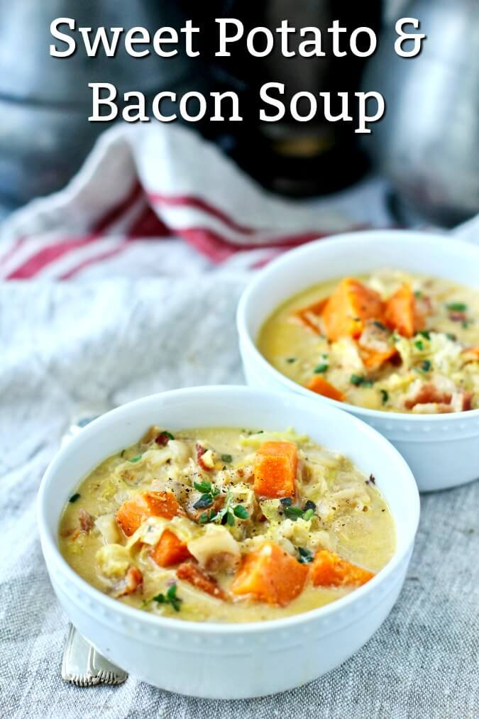 Sweet Potato, Bacon, and Savoy Cabbage Soup