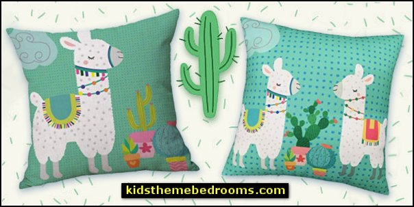Llama Cactus Decorative Throw Pillow Covers   cactus room decor ideas - cactus room theme - cactus wall art - cactus themed bedroom ideas - cactus bedding - cactus wallpaper - cactus wall decals  - cactus themed nursery ideas - cactus rugs - cactus pillows - cactus lighting - cactus furniture  - cactus gifts