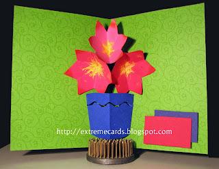 three flower pop up card in a vase