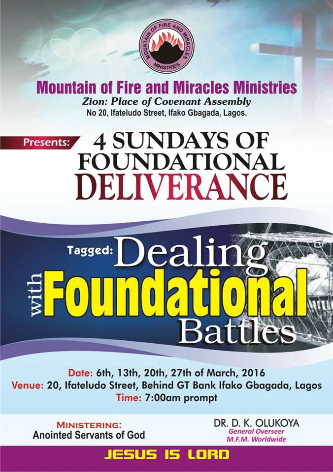 4 Sundays of Dealing with Foundation Battle Prayer Points | MFM Zion
