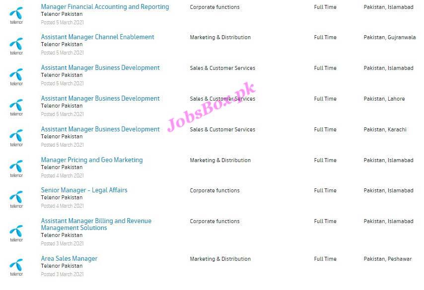 Latest Telenor Pakistan Jobs 2021