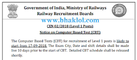RRB Group D 2018 Exam Starts From 17.09.2018 | Admit Card will be Available Soon!