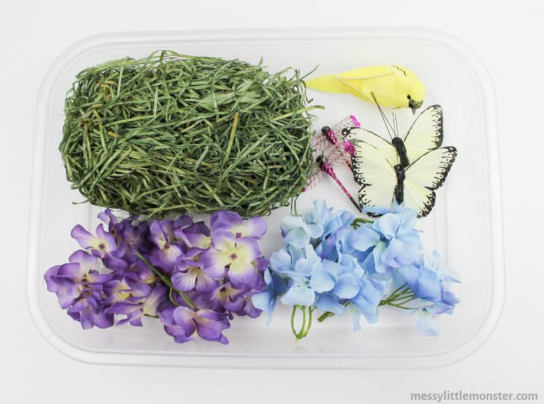 Spring flower sensory bin supplies