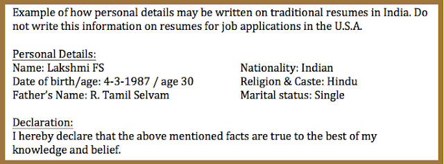 Change your resume from Indian style to American style