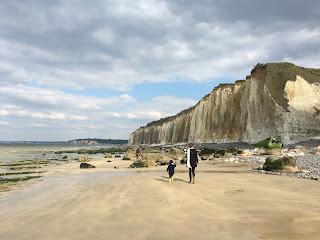 balade sur la plage de Varengeville par grande marée