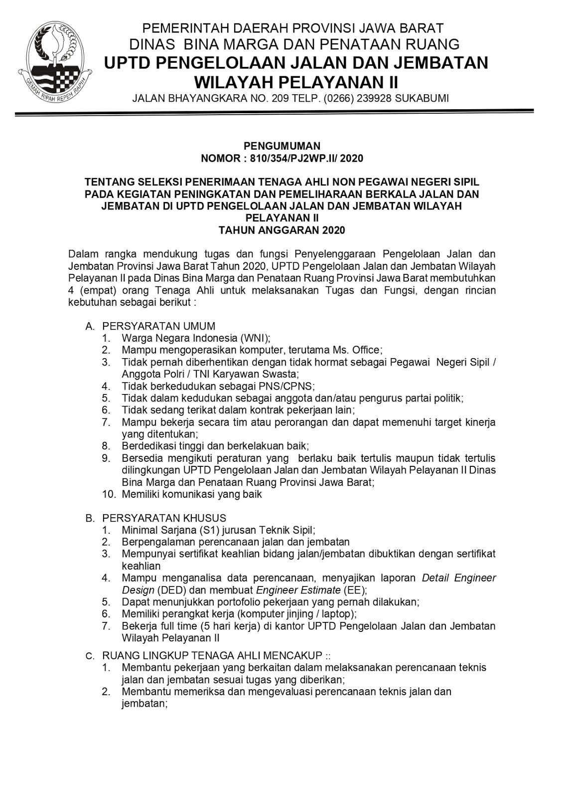 Lowongan Kerja Dinas Bina Marga dan Penataan Ruang Jabar Juli 2020