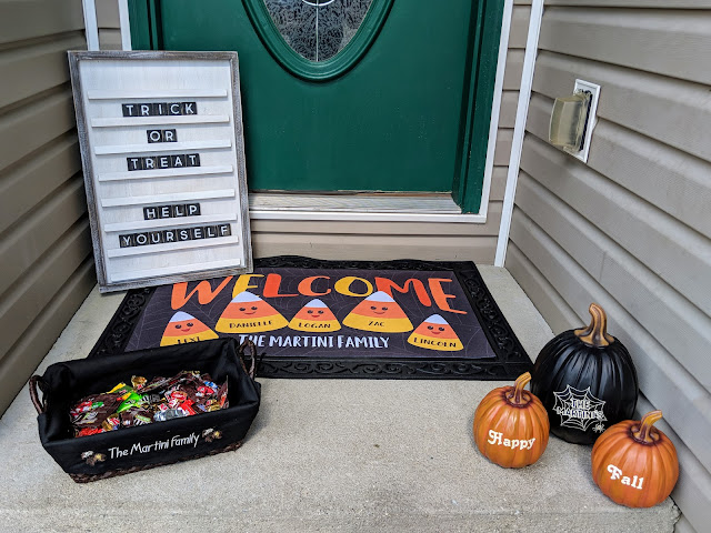 trick or treat, Halloween, personalized decor, fall decor, candy basket, Halloween decor, home decor, personalized pumpkins, candy corn door mat, Halloween door mat