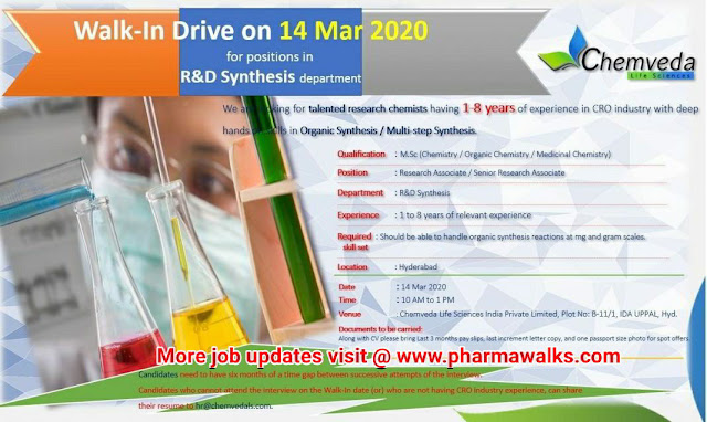 Chemveda Life Sciences walk-in interview for multiple positions on 14th Mar' 2020