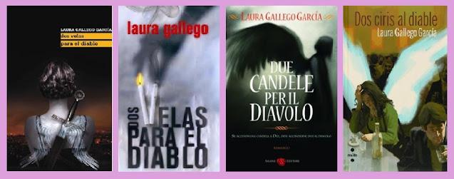 Portadas de la novela de fantasía Dos velas para el diablo, de Laura Gallego García
