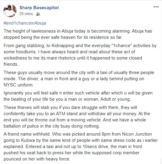 Concerned Nigerian Raises Alarm Over Increase Of 'One Chance' Robbers In Abuja, Discloses How They Operate
