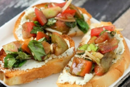 TOMATO BRUSCHETTA WITH WHIPPED BASIL FETA DIP