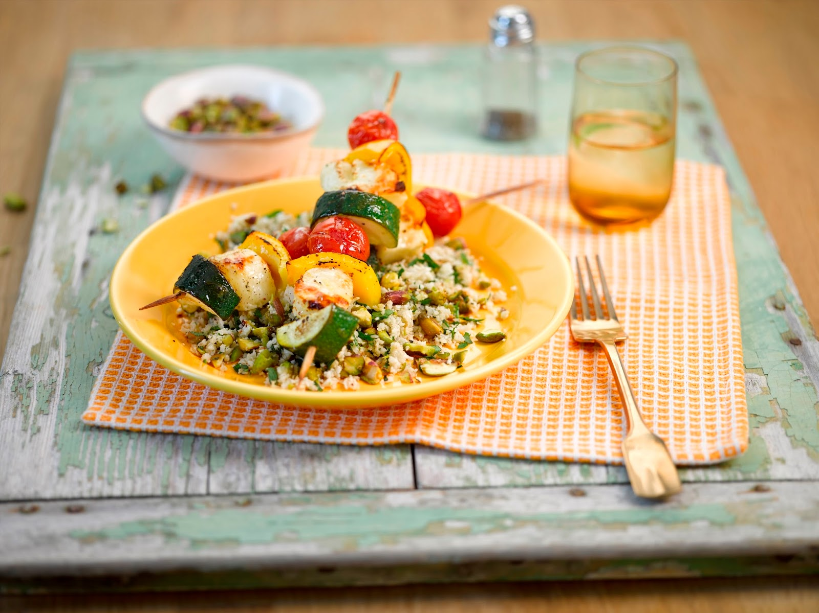 Cauliflower And Pistachio Couscous With Halloumi And Vegetable Kebabs