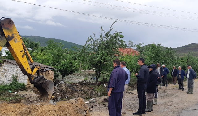 The stream comes out in Porodina village, houses  flooded and cattle killed