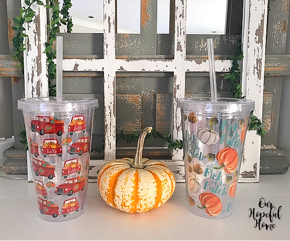 Dollar Tree insulated lidded tumblers straws pumpkin
