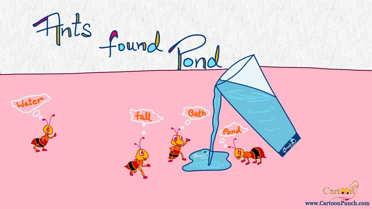 ants found pond in spilled glass water cartoon by sneha
