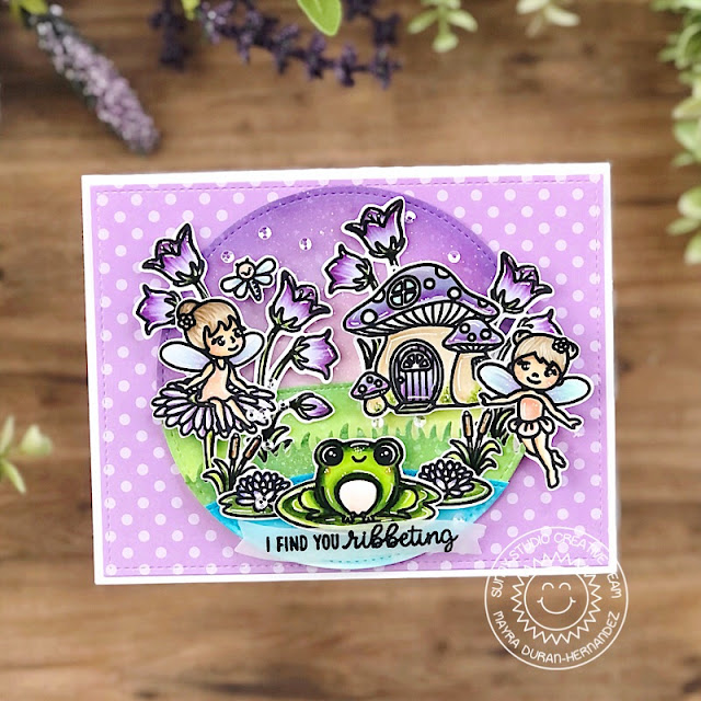 Sunny Studio Stamps: Feeling Froggy Frilly Frame Dies Garden Fairy Punny Card by Mayra Duran-Hernandez