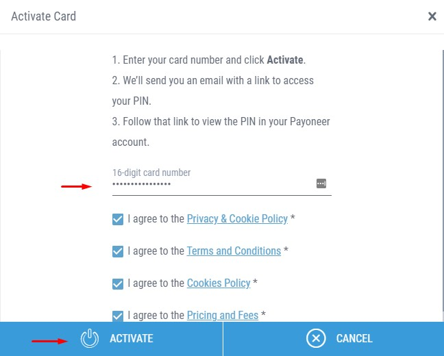 Payoneer Activate Card Number