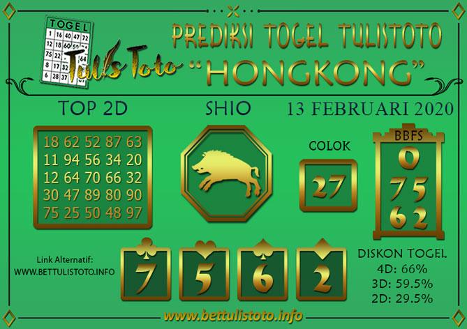Prediksi Togel Hongkong 13 Februari 2020 Tulistoto