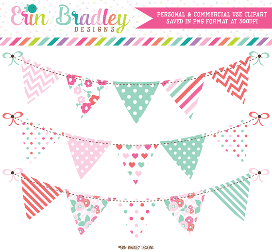 Erin Bradley Designs: New! Floral Bunting and Digital Papers