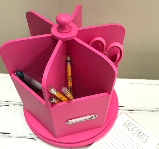 Thrifted CUREiously Pink Desk Organizer