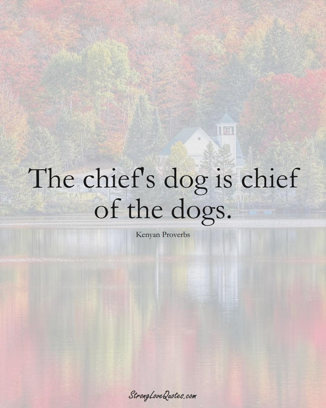 The chief's dog is chief of the dogs. (Kenyan Sayings);  #AfricanSayings
