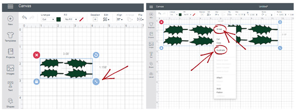 screen shot tutorial for holly leaves from cricut design space