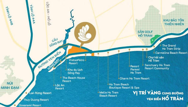 Vị trí tam giac vàng của đại dự án căn hộ Hồ Tràm Complex