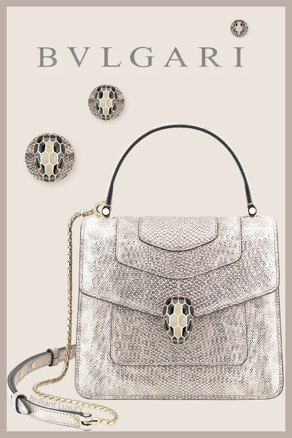 Bvlgari Serpenti Forever crossbody bag in milky opal metallic karung skin #brilliantluxury