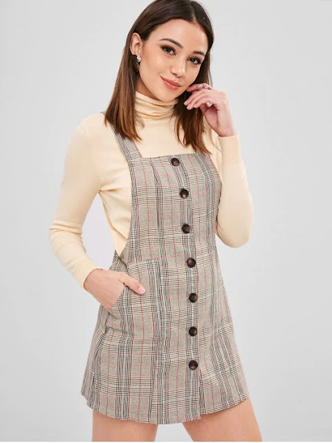 ZAFUL Button Up Xadrez Pinafore Vestido - Multi S