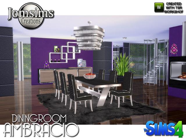 Ambracio dining room Ambracio столовая для The Sims 4 Для этой новой столовой современность и комфорт в порядке. в 3 или 4 цветовых вариациях для некоторых предметов мебели и предметов. обеденный стол, обедая стул, пол растения, камин, консоль, запутывание картины, яйца Деку, металлический плафон, металлические стены полки 10 новых объектов , чтобы создать свой современный угловой Автор: jomsims