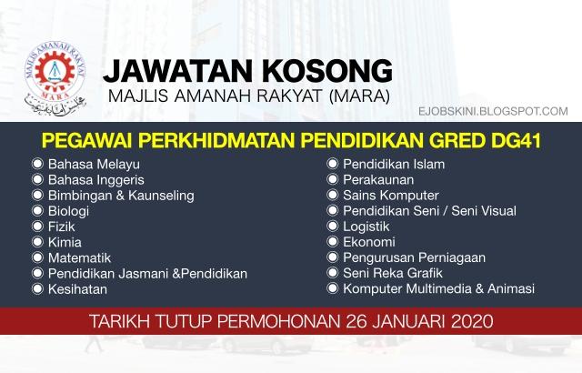 Jawatan Kosong Pegawai Perkhidmatan Pendidikan Dg41 Mara Januari 2020