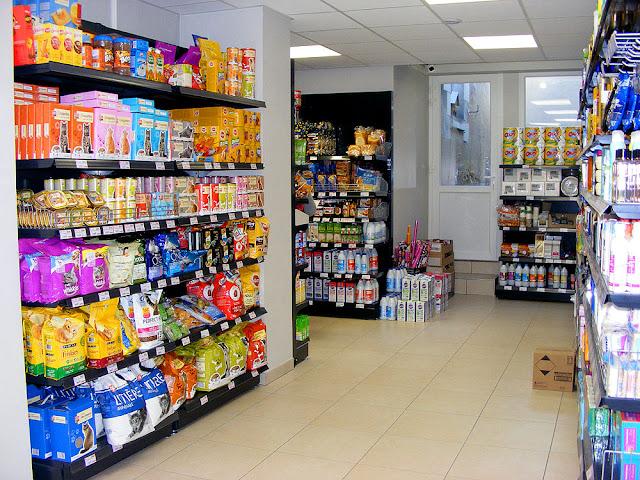 Pet food section, Village corner shop, Indre et Loire, France. Photo by Loire Valley Time Travel.