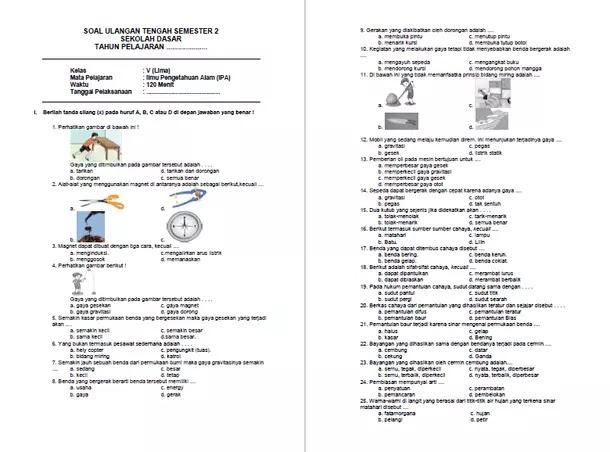 Soal Latihan UTS IPA Kelas 5 SD MI Semester 2