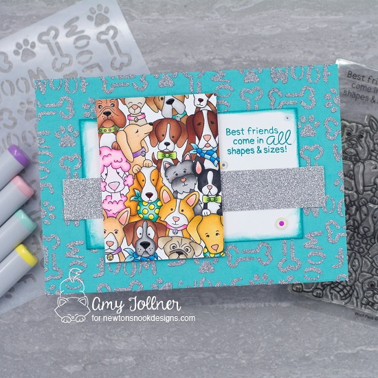 Best friends come in all shapes and sizes by Amy features Woof Pack and Woof by Newton's Nook Designs; #newtonsnook, #inkypaws, #dogcards, #cardmaking