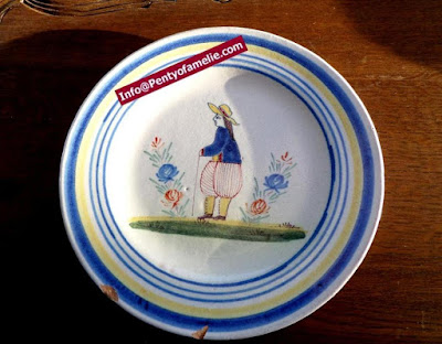 Unique old Malicorne pottery, soup bowls made in France. late 1800s faience dinner plates depicting breton Man and floral pattern related to Pouplard Beatrix model.