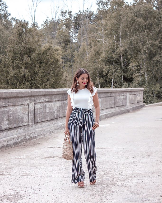 H&M Wide-legged striped pants white ruffled bodysuit Blogger Outfit