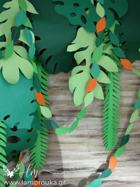 Φτιάξε χάρτινα φύλλα για διακόσμηση βιτρίνας ή πάρτι με θέμα τροπικό καλοκαίρι.
